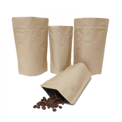 Bolsa bio bolsas de papel kraft marrón sin impresión bolsa de pie biodegradable papel kraft / PLA